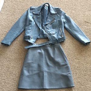 RARE Zara light blue leather moto jacket skirt set